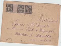 1882 - ENVELOPPE Avec TYPE SAGE N° 89 X3  De PLEMET (COTES D'ARMOR) - Postmark Collection (Covers)