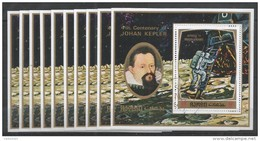 10x AJMAN - Space - 40th Centenary Of J. Kepler - CTO