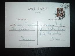 CP ENTIER PETAIN 80c OBL.5-2-42 MAUPREVOIR VIENNE (86) COUDRAUX à DUTHU BOIS-COLOMBES - Marcophilie (Lettres)
