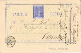 23409. Entero Postal Alfonso XII, LUCENA (Cordoba) 1876, Num 8 - Enteros Postales