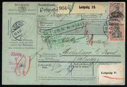A4488) DR Paketkarte Mit Mi.74, 76 Von Leipzig 10.4.05 Nach Arlesheim / Schweiz