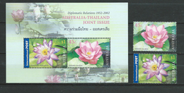 Australia 2002 Australia-Thailand Joint Issue - Waterlily.flowers.S/S And Stamps.MNH