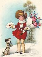 BONNE ANNEE    PETITE FILLE AVEC CHIEN ET BOUQUET DE FLEURS - Neujahr