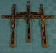 RARE Lot 3 Grandes Croix De Ceinture De Moine Monk Laiton + Bois Encastré Avec Crane Skull  Cross Croce 11 Scans - Religion & Esotérisme