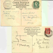 2 Entier 15c Et 45c Pasteur- 2 Carte Commémorative De L'exposition De Paris En 1925