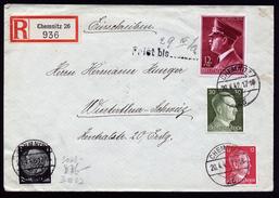 A4489) DR R-Brief Von Chemnitz 20.4.42 In Die Schweiz Mit Mi.813 Ua.