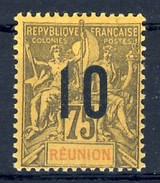 REUNION 1912, 10 Auf 75 C. , Mi.79 *, Yv.79 *   D 68 - Réunion (1852-1975)
