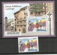 "ANDORRA.Danse Traditionnelle Catalane ""Santa Anna"" En Andorre, Bloc-feuillet + Timbre Neufs ** 2014"