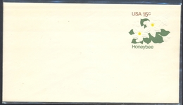 USA Postal Stationery Card: Meter Cancellation: Fauna Animals Honey Bee Abeilles Biene: Flora Flowers