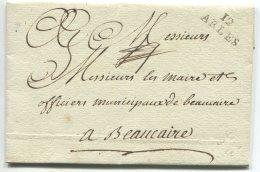 12 ARLES + 4 Rayé/ Lettre En Franchise Des Bouches Du Rhône Pour Beaucaire (gard) - Postmark Collection (Covers)