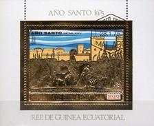 Jerusalem Heilige Jahr 1975 Äquatorial Guinea Block 197 O 8€ Madonna Jesus Ss Bloc Gold Sheet M/s Bf Ecuator.Africa