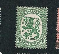 N° 103 Armoiries Et Vagues Type A (vert)  Lion Héraldique    Timbre Finlande SUOMI (1921  1926 ) Oblitéré