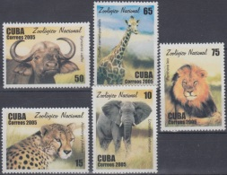 2005.52 CUBA MNH 2005. ZOOLOGICO ZOO LION FELINES TIGRE TIGER ELEFANTE ELEPHANT JIRAFA URO - Cuba