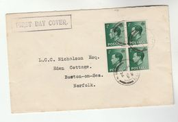 1936 GB FDC Franked BLock Of 4 X  E8  1/2d Stamps  Cover Eviii - FDC