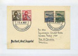 1937 3. Reich Zeppelin LZ127 Südamerikafahrt Dekorativ Frankierter Bordpostkarte Sieger 380A