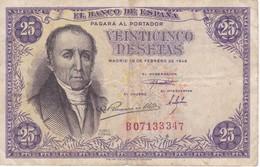 BILLETE DE ESPAÑA DE 25 PTAS DEL 19/02/1946 SERIE B  CALIDAD BC (BANKNOTE) - [ 3] 1936-1975 : Regency Of Franco