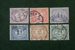 Cijfer Vurtheim NVPH 50-55 (Mi 49-52 75-76) 1899-1913 Gestempeld / USED NEDERLAND / NIEDERLANDE