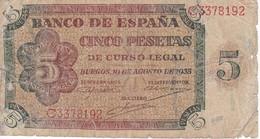 BILLETE DE ESPAÑA DE 5 PTAS DE BURGOS DEL AÑO 1938 SERIE C  (BANKNOTE) - [ 3] 1936-1975 : Régimen De Franco