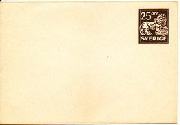 Sweden Small Postal Stationery Cover 25 öre Brown In Mint Condition - Postal Stationery