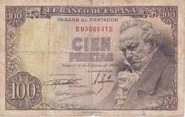BILLETE DE ESPAÑA DE 100 PTAS 19/02/1946 SERIE B (BANK NOTE) GOYA - 100 Pesetas
