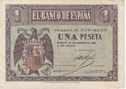 BILLETE DE 1 PTA DEL 28 DE FEBRERO 1938 SERIE D CALIDAD EBC (XF)  (BANKNOTE) - [ 3] 1936-1975 : Régence De Franco