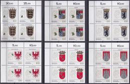 """BRD, 1992 Nr. 1586-1591 **,  6 Viererblöcke Mit ER Oben,  """"Wappen Der Länder Der BRD"""""""