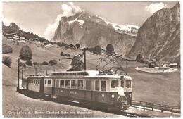 Grindelwald - Berner-Oberland-Bahn Mit Wetterhorn - Carte Photo - Edit. Photoglob Wehrli AG - Chemin De Fer - BE Berne