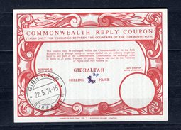 8827 IRC IAS CRI - International Reply Coupon - Antwortschein Commenwealth Reply Coupon T17 Gibraltar 3p/5d  Stempel