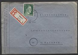 Deutsches Reich #A795 Einzelfrankatur Einschreibebrief Gera Heeresrechtsabteilung 28.10.44. An Die Heereskleiderkasse, R