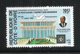 REPUBLIQUE DE COTE-D'IVOIRE- 1989- Valore Nuovo Stl Da 195 F. - Congresso Internaz. Della PACE - In Buone Condizioni. - Costa D'Avorio (1960-...)