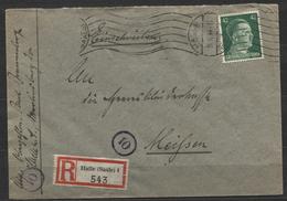 Deutsches Reich #A795 Einzelfrankatur Einschreibebrief Halle 26.10.44 > Heereskleiderkasse Meissen, Rückseitig Ankunftss