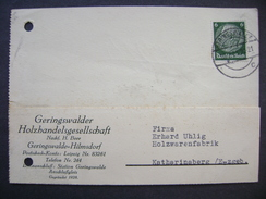 Germany Postkarte 1941 GERINGSWALDE-HILMSDORF - Katharinaberg (Erzgeb.) Firma Geringswalder Holzhandelsgesellschaft
