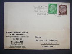 Germany Postkarte 1938 Dresden - Prag, Firma Photo-Alben-Fabrik, Karl Walther, Hindenburg 5 + 10 Pf.