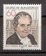 Deutschland 1981, Nr. 1082, 100. Geburtstag Von Elly Heuss-Knapp Postfrisch (mnh), Bundesrepublik