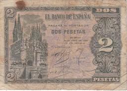 BILLETE DE 2 PTAS DE 1938 CATEDRAL DE BURGOS SERIE L  (BANKNOTE) - [ 3] 1936-1975 : Régence De Franco