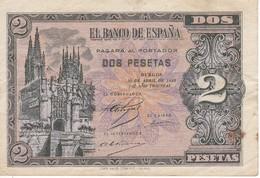 BILLETE DE ESPAÑA DE 2 PTAS  DEL AÑO 1938 SERIE M CALIDAD MBC (VF) (BANKNOTE) - [ 3] 1936-1975 : Régence De Franco