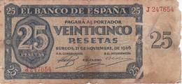 BILLETE DE ESPAÑA DE 25 PTAS DEL 21/11/1936 SERIE J CALIDAD  RC (BANKNOTE) - [ 3] 1936-1975 : Regency Of Franco