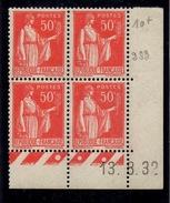 CD0276    N°283 - 50c Rouge Type Paix - Coin Daté 13/8/32 **