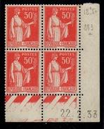 CD0277    N°283 - 50c Rouge Type Paix - Coin Daté 22/2/33 **