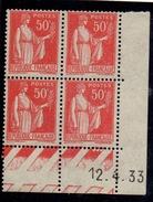 CD0278    N°283 - 50c Rouge Type Paix - Coin Daté 12/4/33 **