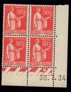 CD0279    N°283 - 50c Rouge Type Paix - Coin Daté 30/7/34 **