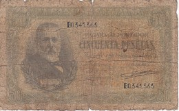 BILLETE DE ESPAÑA DE 50 PTAS DEL 9/01/1940 SERIE B CALIDAD  RC (BANKNOTE) - [ 3] 1936-1975 : Régence De Franco