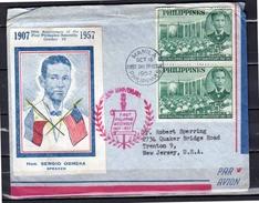 1957 FDC Sergio Osmena (Scarce As Aerogram-cover) > Trenton USA Airmail Cover - Filippine
