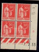 CD0280    N°283 - 50c Rouge Type Paix - Coin Daté 7/2/35, Type I - * Avec Charnière