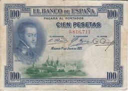 BILLETE DE ESPAÑA DE 100 PTAS DEL AÑO 1925 SIN SERIE  (BANKNOTE) SELLO SECO - [ 1] …-1931 : First Banknotes (Banco De España)