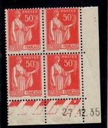 CD0281    N°283 - 50c Rouge Type III - Type Paix - Coin Daté 27/12/35 **