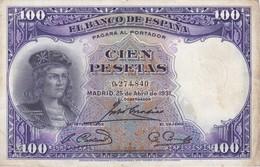 BILLETE DE ESPAÑA DE 100 PTAS DEL AÑO 1931 BC SIN SERIE  (BANKNOTE) - [ 2] 1931-1936: Republik