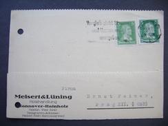 Germany Postkarte 1927 HANNOVER-HAINHOLZ - PRAG, Firma Meisert & Lüning Holzhandlung, Schiller 5 Pf., Mi 387, 388