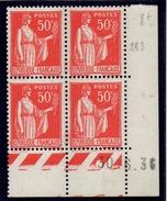 CD0282    N°283 - 50c Rouge Type III - Type Paix - Coin Daté 30/6/36 **