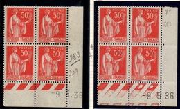 CD0283 / 0284    N°283 - 50c Rouge Type III - Type Paix - 2 Coins Datés 9/5/36 **